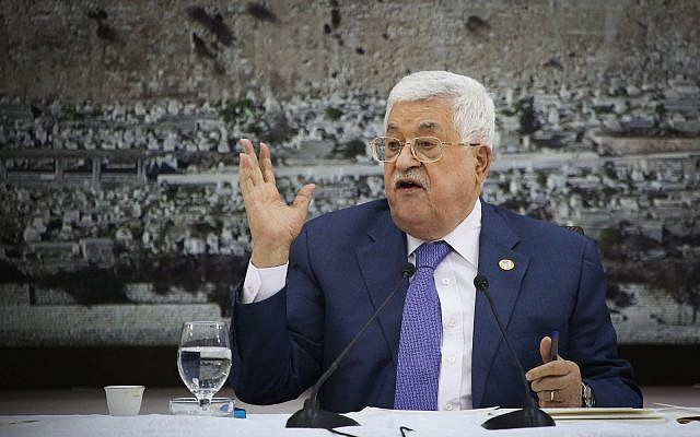 Palestinian President Mahmoud Abbas speaks during a meeting of the Palestinian leadership in the West Bank city of Ramallah on July 25, 2019. (Flash90)