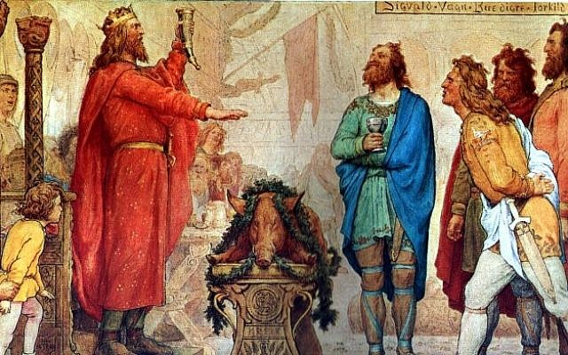 Sweyn and the Jomsvikings at the funeral of his father Harald Bluetooth. Painting by Lorenz Frølich, c. 1883–86. (Public Domain/ Wikimedia Commons)
