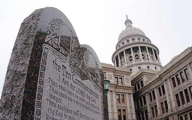The controversial tablet displaying the Ten Commandments, located on the grounds of the Texas State Capitol in Austin, Texas. (Wikipedia/Texas Attorney General's website news release, March 2, 2005)