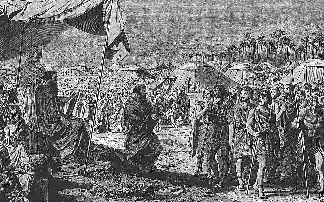The Numbering of the Israelites, engraving by Henri Félix Emmanuel Philippoteaux (1815–1884). (Wikimedia Commons)