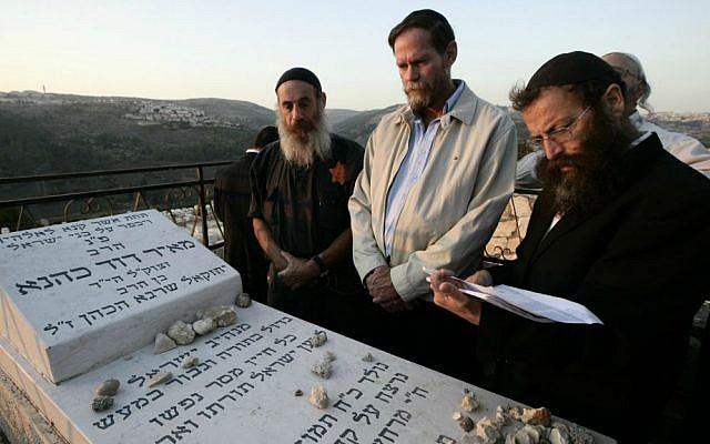 Illustrative. Baruch Marzel at a memorial ceremony honoring Rabbi Meir Kahane in Jerusalem, November 5, 2009. (Abir Sultan/Flash90/File)