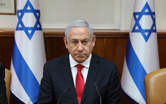 Israeli Prime Minister Benjamin Netanyahu attends the weekly cabinet meeting at his office in Jerusalem, Israel, Sunday, May 5, 2019. (Abir Sultan/Pool Photo via AP) *** Local Caption *** 16.05.19