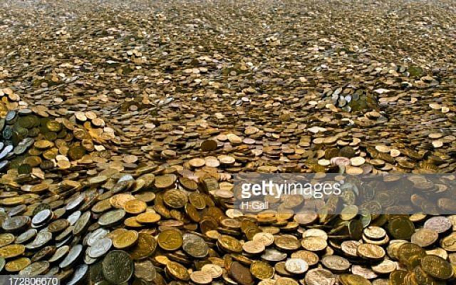 A landscape of goldcoins