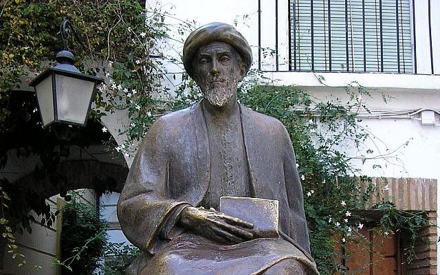 The statue of Moses Maimonides in his birthplace of Cordova. (Wikiquote/ Maimonides)