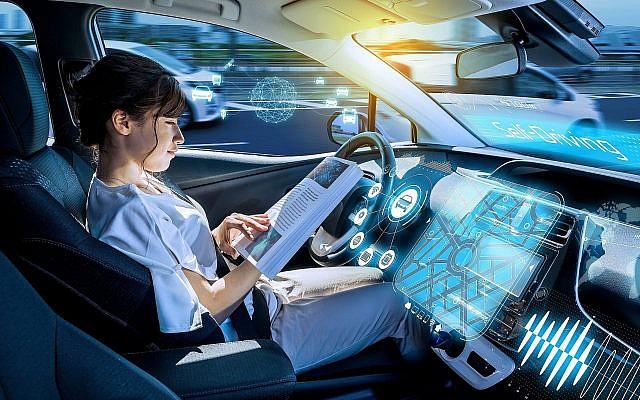 Illustrative. 'Drivnig' a self-driving car. (iStock)