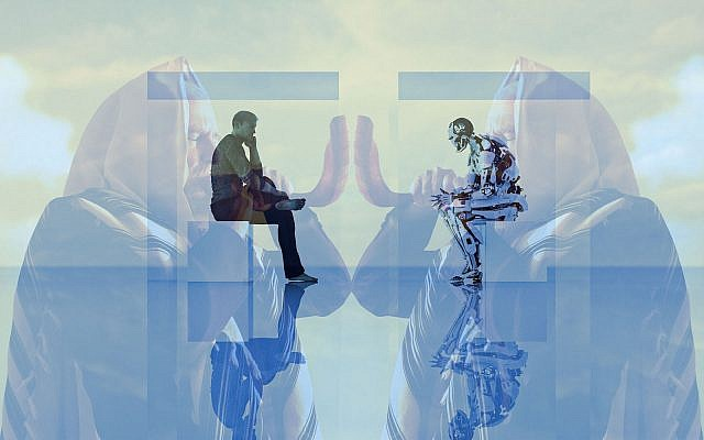 A human competes in a Turing test against a robot superimposed on a Jewish man blowing shofar. (Getty Images/JTA montage)