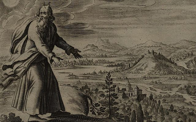 Illustrative. Moses Views the Promised Land. (engraving by Gerard Jollain from the 1670 La Saincte Bible)