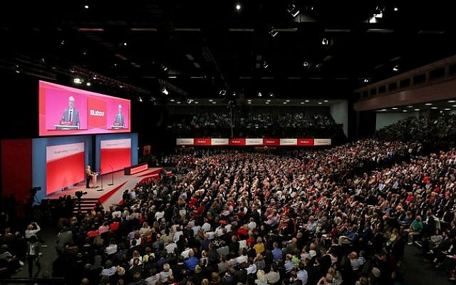 Labour Leader Jeremy Corbyn delivers his keynote speech during the third day of the Labour Party conference in 2018 (Jewish News)