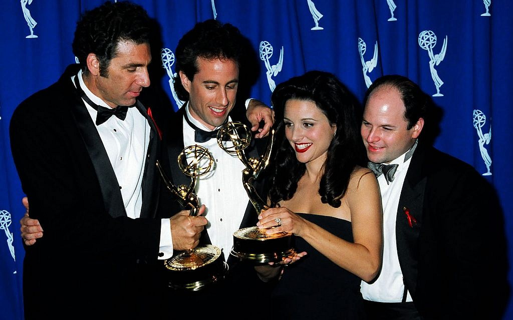 """The stars of """"Seinfeld"""" at the 1993 Emmy Awards. The show was the most popular sitcom of the 1990s. (Jeff Kravitz/FilmMagic, Inc/Getty Images)"""