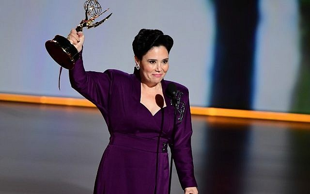 "Alex Borstein accepts the Supporting Actress, Comedy award for ""The Marvelous Mrs. Maisel"" onstage during the 71st Emmy Awards at the Microsoft Theatre in Los Angeles on September 22, 2019. (Photo by Frederic J. BROWN / AFP)"