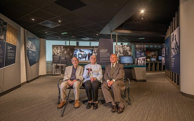 L-R: Survivors Heinz Skyte, Trude Silman and Arek Hersh at the Holocaust Exhibition and Learning Centre (Photo Credit Charlotte Graham via Jewish News)
