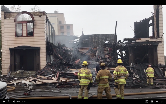 The Adas Israel Congregation in Duluth, Minnesota, burned down of yet unknown causes, September 9, 2019. (Duluth News Tribune Screenshot, via JTA)