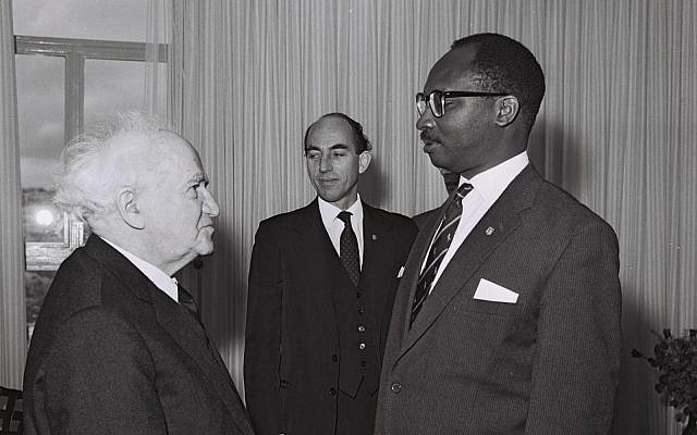 Prime Minister of the Gambia Sir Dawda Jawara with Prime Minister of Israel David Ben-Gurion at his office in Jerusalem, 10 December 1962. Credit: Israel National Archive.