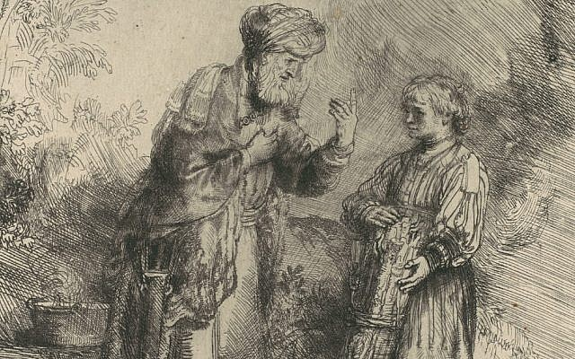 From 'Abraham and Isaac,' by Rembrandt van Rijn, 1645. (The Met)