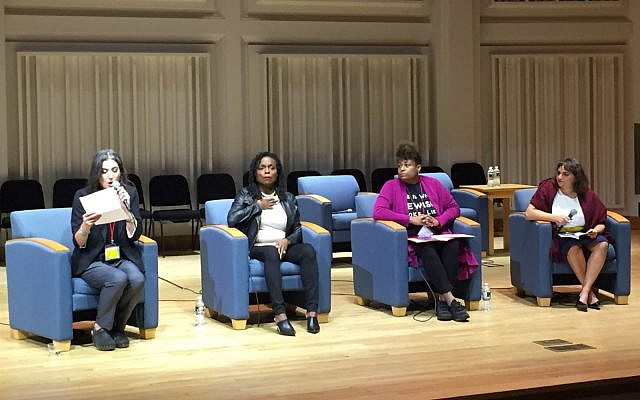 Batya Ungar-Sargon, Reverend Jacqui Lewis, Shahanna McKinney-Baldon, Amy Schiller at the Hannah Arendt Center Conference on Racism and Antisemitism, October 11, 2019 (Courtesy)