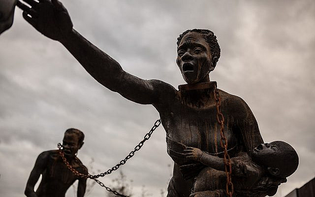 Nkyinkim Installation by West African artist Kwame Akoto-Bamfo. Part of The National Memorial for Peace and Justice.
