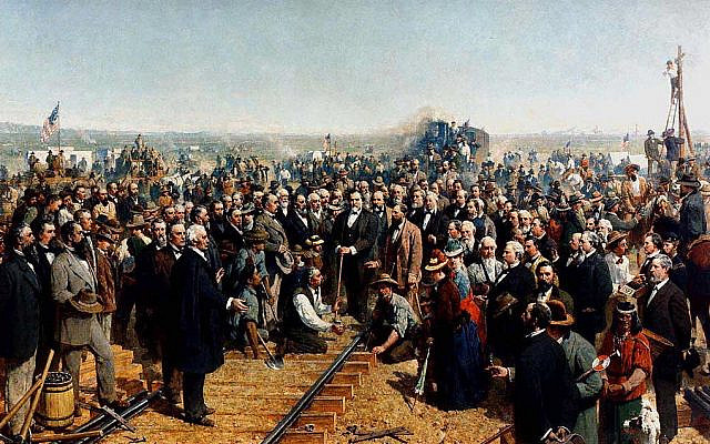 The Last Spike by Thomas Hill (1881), marking the connection of the rails of the Central Pacific Railroad and the Union Pacific Railroad on May 10, 1869. (Public Domain/ Wikimedia Commons)