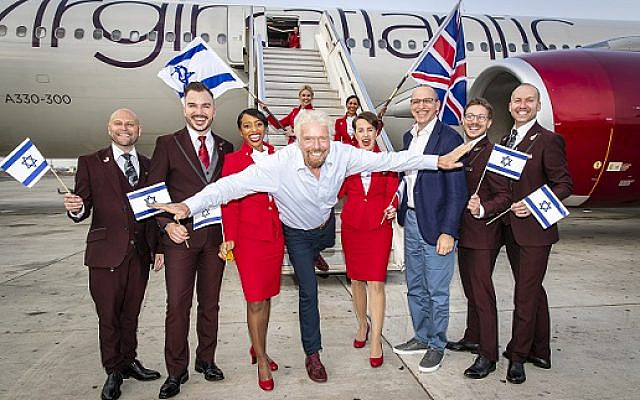 Virgin Atlantic founder Richard Branson touches down at Ben Gurion Airport in Tel Aviv, Israel with CEO Shai Weiss.   (Via Jewish News)