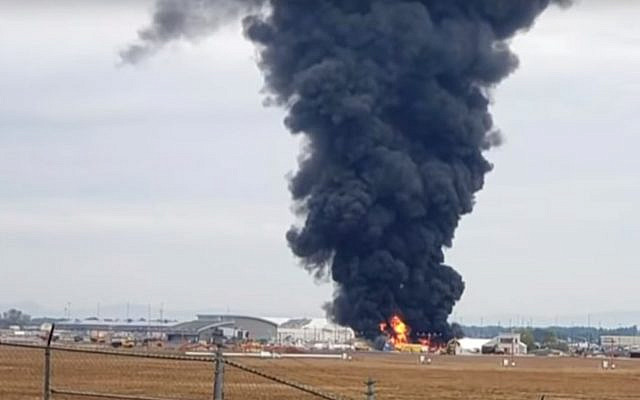 The vintage B-17 plane in fiery crash at Hartford airport, October 2, 2019. (YouTube)