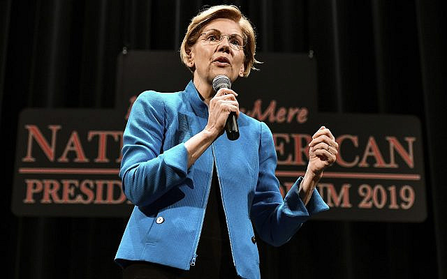 Elizabeth Warren, 2020 Democratic presidential hopeful, speaks during the first day of the Frank LaMere Native American Presidential Forum held August 19, 2019 at the Orpheum Theatre in Sioux City, Iowa. (Tim Hynds/ Sioux City Journal via AP)