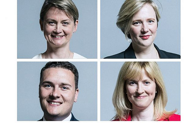 Labour MPs who have been attacked online for remaining in Labour, but defended the Jewish community in the antisemitism row.  Left: Yvette Cooper and Wes Streeting. Right:  Stella Creasy and Rosie Duffield (Jewish News)
