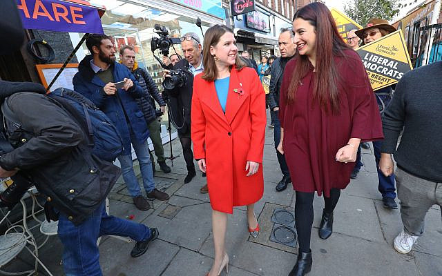 Liberal Democrat leader Jo Swinson (left) is greeted by the party's candidate for Finchley and Golders Green Luciana Berger (Credit: Aaron Chown/PA Wire via Jewish News)