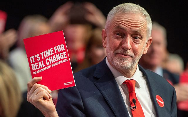 Labour Party leader Jeremy Corbyn during the launch of his party's manifesto in Birmingham. (Credit: Joe Giddens/PA Wire via Jewish News)