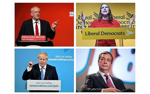 Jeremy Corbyn, Jo Swinson, Boris Johnson and Nigel Farage.