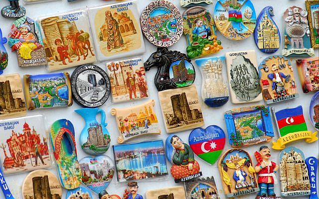 Colorful fridge magnets on sale in Baku, capital of Azerbaijan. (Larry Luxner)