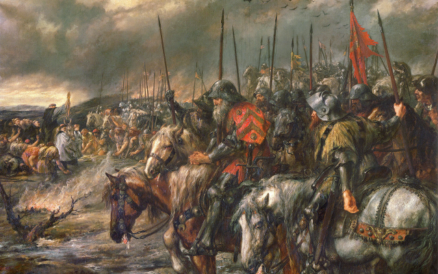 Morning of the Battle of Agincourt, 25th October 1415, by Sir John Gilbert. (Public Domain/ Wikimedia Commons)