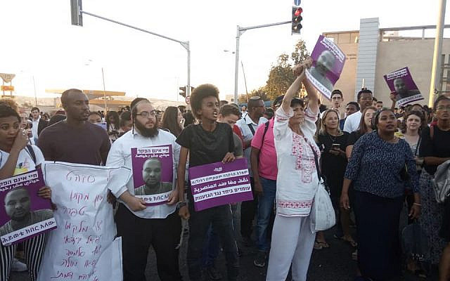 Charedi Jews joining the Ethiopian-Israeli protests on police brutality and racism (Standing Together facebook page/Yachad/Jewish News)