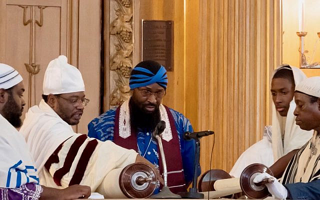 Hebrew Israelites reading from the Torah at Congregation Beth Elohim in Brooklyn, NY, August 17, 2019. (Courtesy of blackjews.org)