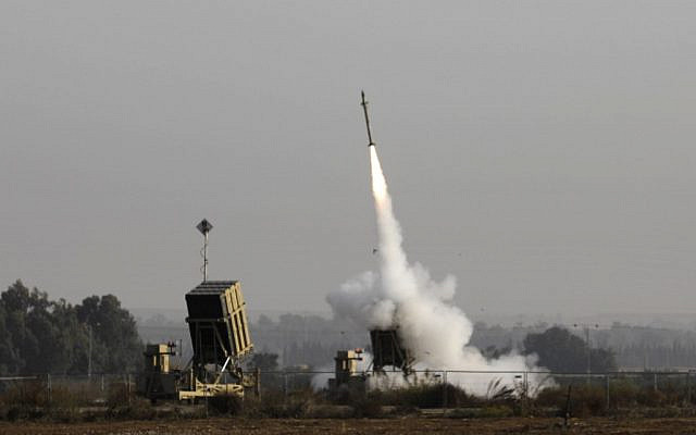 An Israeli missile launched from the Iron Dome defense missile system, designed to intercept and destroy incoming short-range rockets and artillery shells, is pictured in the southern Israeli city of Sderot, on November 12, 2019. (MENAHEM KAHANA / AFP)