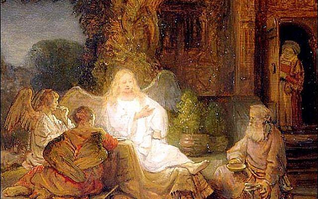 Illustrative. Abraham Serving the Three Angels, by Rembrandt, 1646. (Wikipedia)