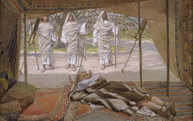 'Abraham and the Three Angels,' c. 1896-1902, by James Jacques Joseph Tissot (French, 1836-1902), gouache on board, at the Jewish Museum, New York. (Wikipedia)