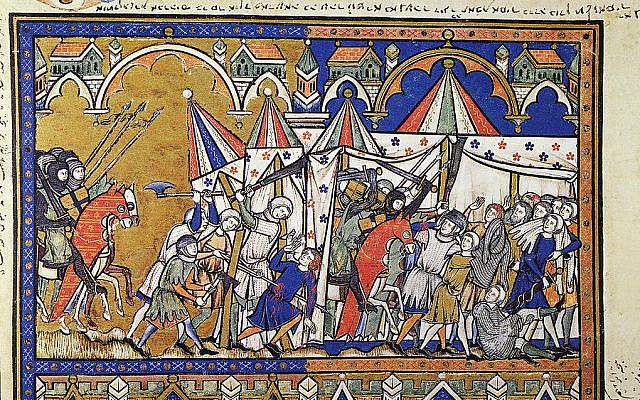 Illustrative. Abraham Rescues Lot ((Genesis 14 14-15). French manuscript illumination, c1250. (Wikimedia Commons)