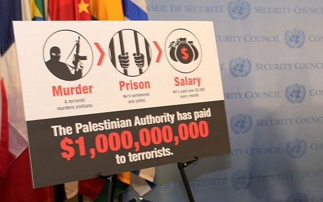 Illustrative. From Israeli Ambassador to the United Nations Danny Danon's presentation on payments to Palestinian terrorists, outside the UN Security Council, May 11, 2017. (Courtesy)
