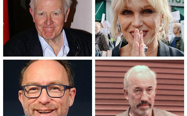 John le Carre, Joanna Lumley,, Jimmy Wales and  Simon Callow (WIkipedia via Jewish News)