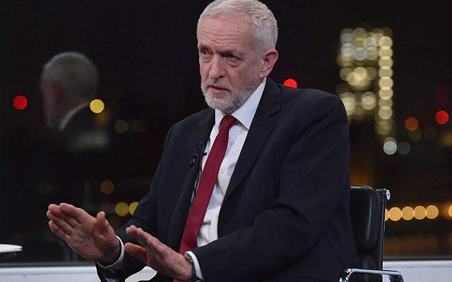 Jeremy Corbyn during a BBC interview. (Photo credit: Jeff Overs/BBC/PA Wire via Jewish News)