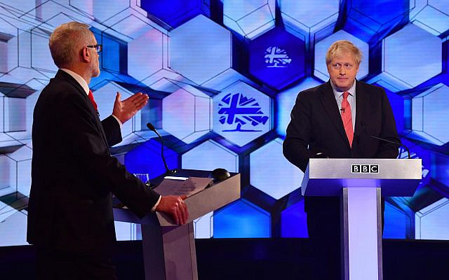 Prime Minister Boris Johnson and Labour leader Jeremy Corbyn (left) going head to head in the BBC Election Debate. (Photo credit: Jeff Overs/BBC/PA Wire via Jewish News)