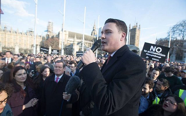 Wes Streeting MP speaking at Enough Is Enough - Demonstration against antisemitism.   Photo Credit: Marc Morris  via Jewish News