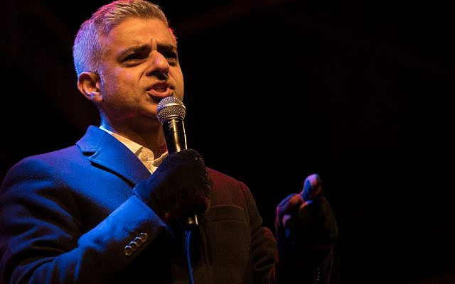 London Mayor Sadiq Khan speaking at Chanukah in the Square (Credit: Marc Morris Photography  via Jewish News)