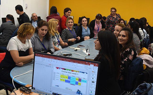 Visiting Azerbaijani teachers attend a training seminar at ORT Israel's R&D Center in Tel Aviv. (Larry Luxner)