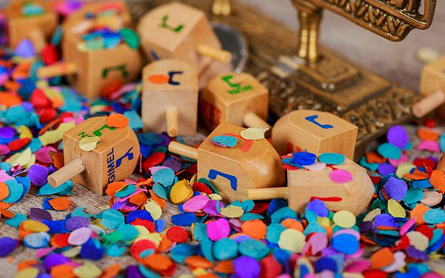 Illustrative. Dreidels and confetti, for Hanukkah. (iStock)