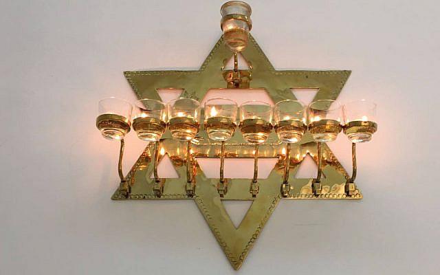 Hanukiah on display at the Aden Jewish Heritage Museum