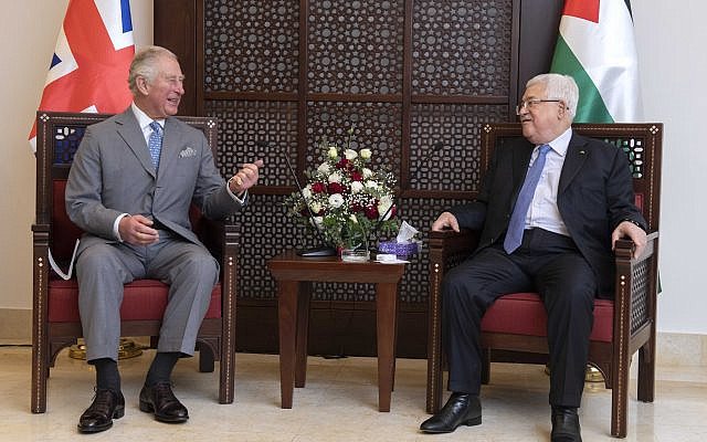 The Prince of Wales meeting with President Mahmoud Abbas at his official residence in Bethlehem (Photo credit: Julian Simmonds/The Daily Telegraph/PA Wire via Jewish News)