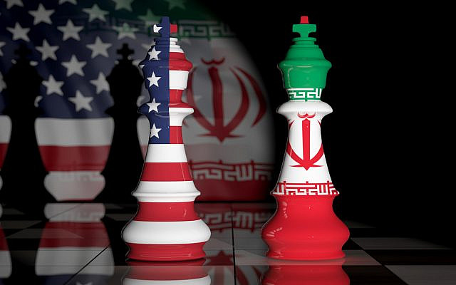 USA and Iran relationship. US America and Iran flags on chess kings on a chess board. 3d illustration