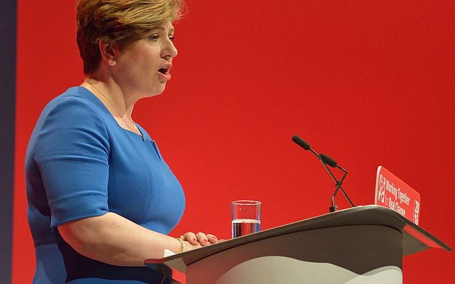 Emily Thornberry speaking at a Labour conference