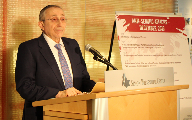 Rabbi Marvin Hier, speaking for the Simon Wiesenthal Center. (courtesy)
