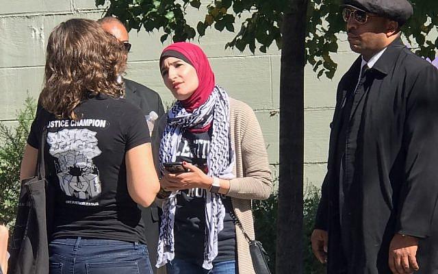 Activist Linda Sarsour at the Brooklyn March for Racial Justice, October 1, 2017. (P.F Saldinger)